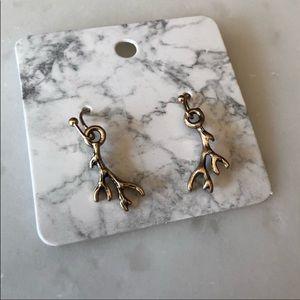 Antique Gold Antler Earrings